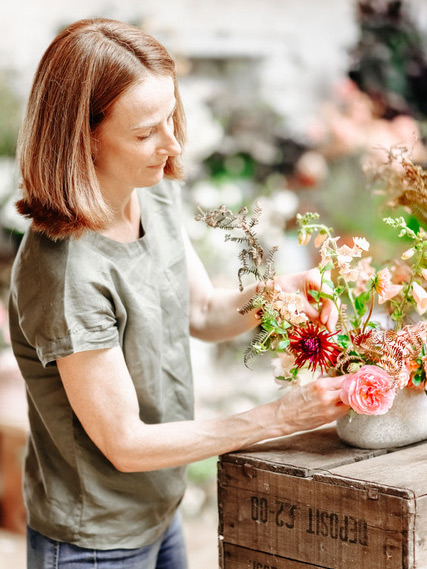 Brigitte Girling from Moss & Stone Floral Design - Having always loved flowers, gardening and being outdoors Brigitte often felt in her previous life as a school teacher, usually stuck in an over warm classroom, that something was missing. She loved encouraging learning but yearned to engage with the natural world and be more creative on a daily basis. So after retraining as a florist and spending many years honing her craft as a freelancer, Moss & Stone was founded over three years ago. This allowed her the freedom to follow her heart and work with the seasons, using locally sourced British flowers in a very natural, garden style providing considered, floral art for weddings and events. Brigitte's love of teaching continues as she passes on her knowledge, skills and love of flowers to the many guests she welcomes to her Suffolk studio where she runs floral workshops and classes. Brigitte's seasonal style and relaxed floral designs lends itself perfectly to the world of fine art weddings.Image by Belle & Beau Photography