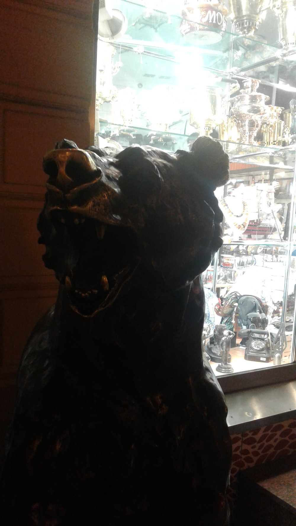 At least three British newspapers would gladly cite this photo as proof that bears have overrun the souvenir shops of downtown Moscow.