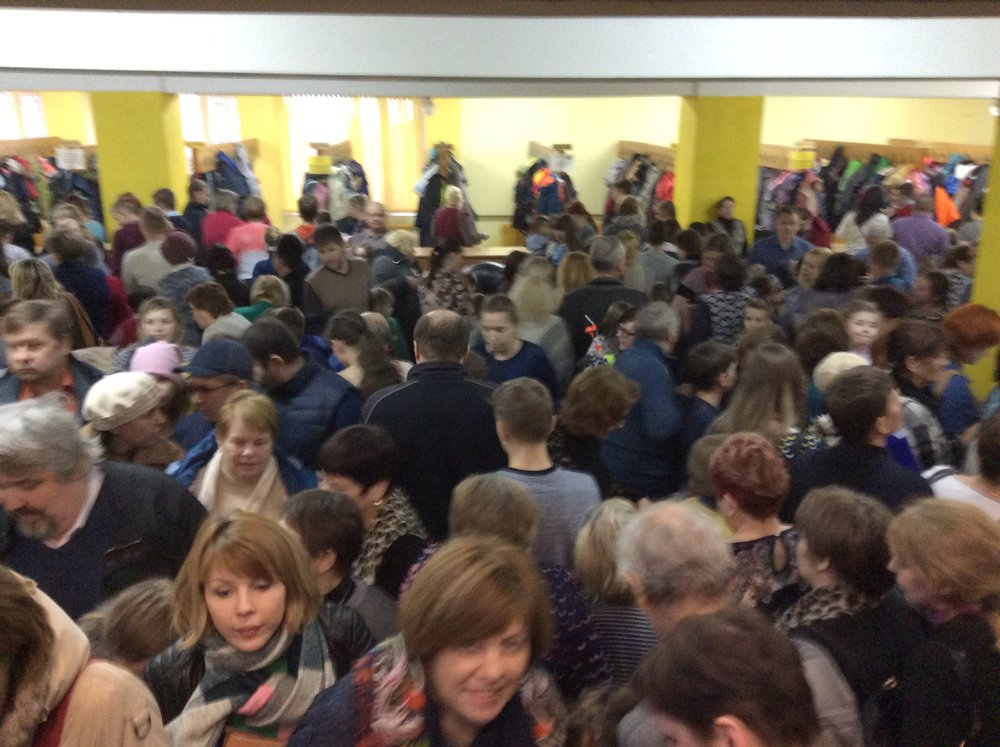 Those Russian lines I've written about all year? Well, this is the coat room queue after the circus.