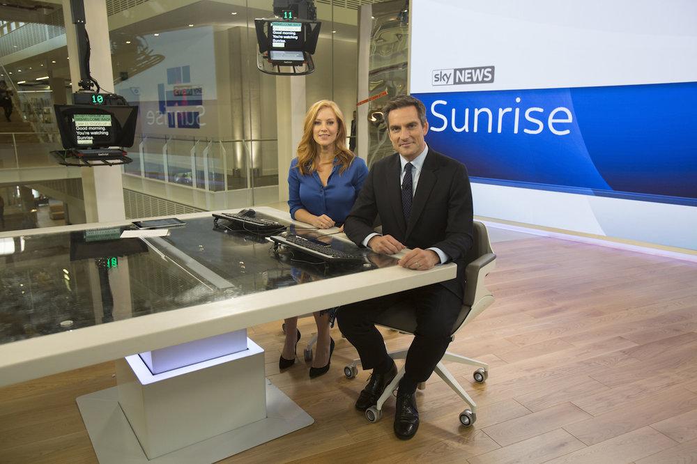 Jonathan and Sarah-Jane Mee in the new Sky News studio.