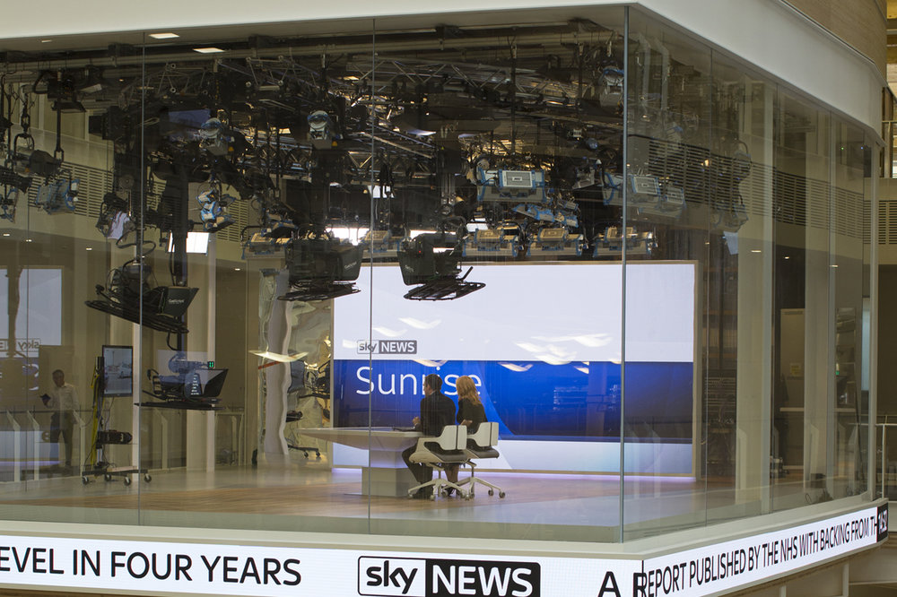 The new glass-walled Sky News studio seen from the outside.