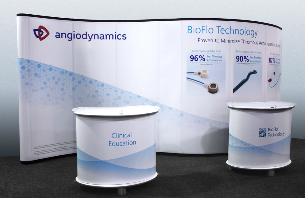 Tradeshow wall and counters for the bioflo family of products