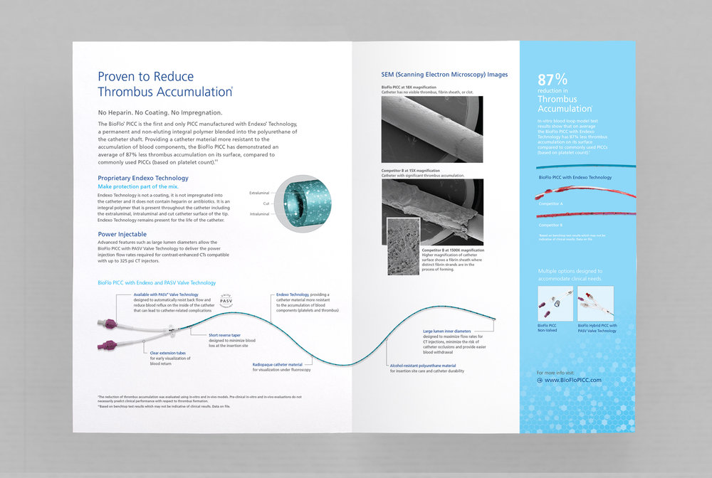 inside spread of bioflo picc brochure