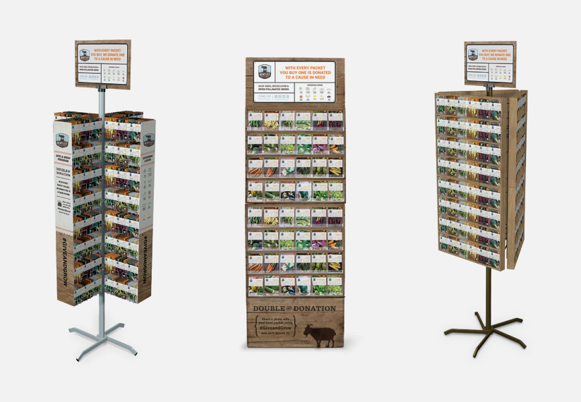 500, 1500 & 2000 seed packet displays