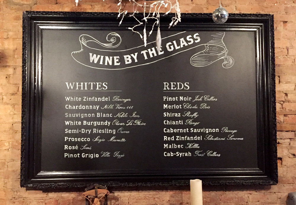 Hand drawn restaurant wine list