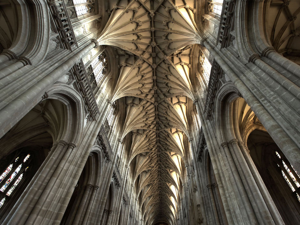 Vaulted ceiling at Winchester Cathedral - image courtesy LuLus-Photos