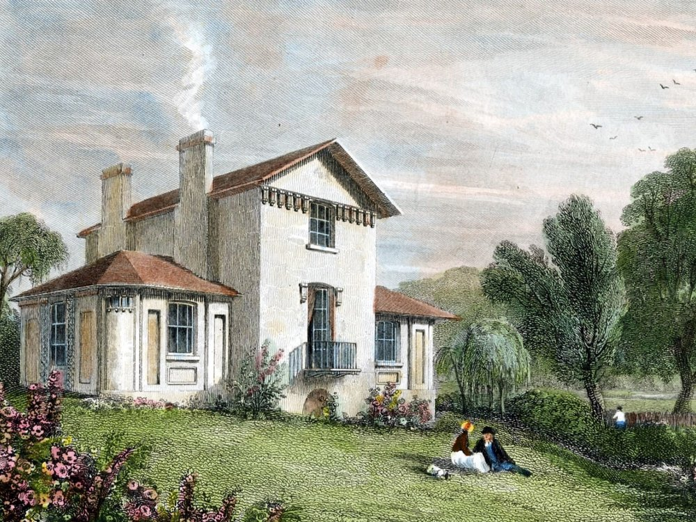 A drawing by William Havell showing Sandycombe Lodge shortly after it was built. Image courtesy turnerintwickenham.org