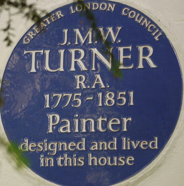 Blue plaque at JWM Turner's House, Twickenham. Image courtesy turnerintwickenham.org.uk