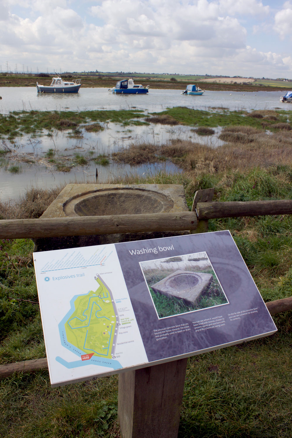 Interpretation signage at Wat Tyler Country Park Marina – image courtesy Dotco