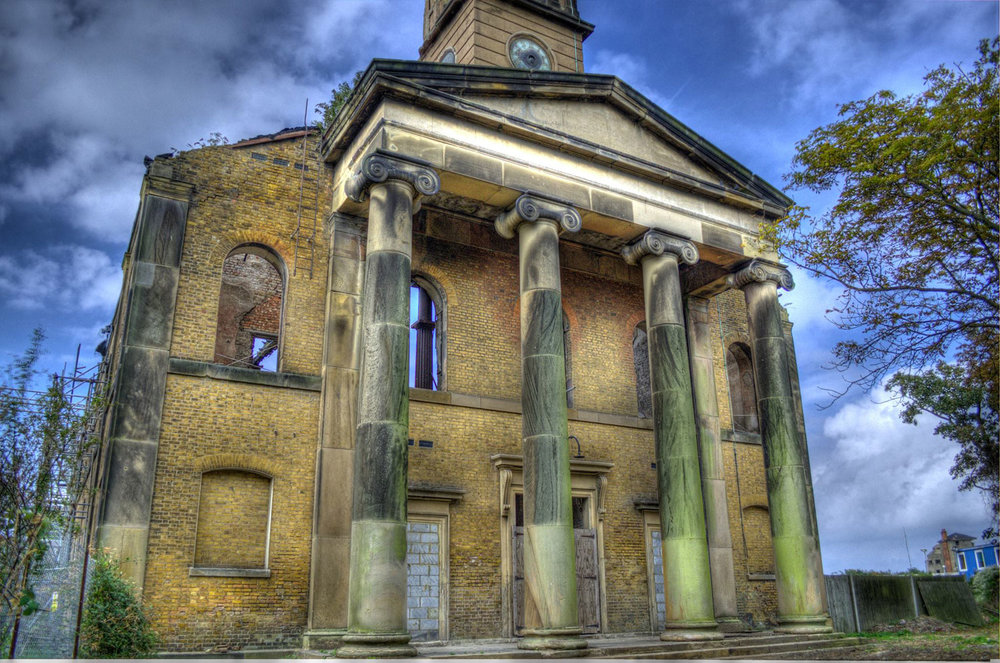 The impressive portico of the derelict Sheerness Dockyard Church