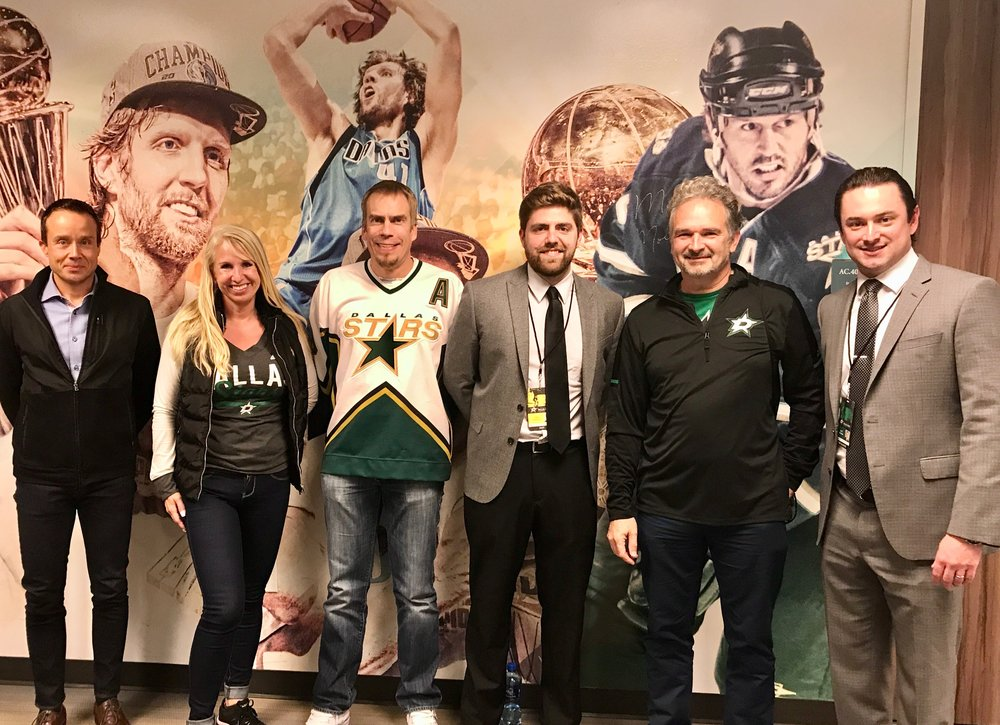 "Dallas Stars executive VP Matt Bowman (right) gave A pregame presentation ""operational overview of Stars sales and marketing"" for the FABG quests as part of the Finnsih Pride night , others pictures (from left) Markku Toiviainen, Mia-riitta niemi, Kim aaltonen, todd streets (stars) and vesa jaamuru."