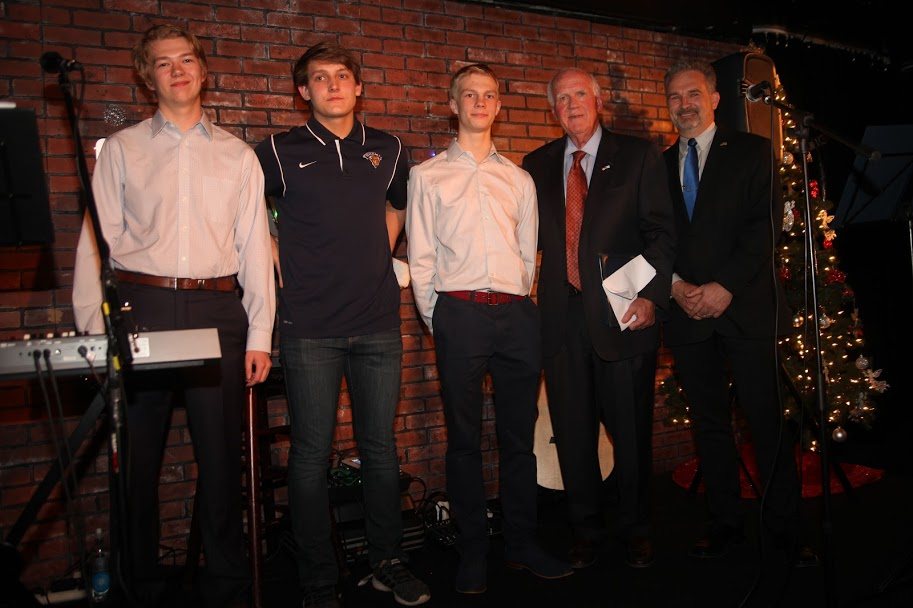 The FABG Scholarships Recipients (Ståhlberg Scholarships) - From left Axel Salonen, Patrik Kiiski and Emil Aaltonen together with Honorary Consul of Finland Kenneth M. Niesman and Chairman Vesa Jäämuru