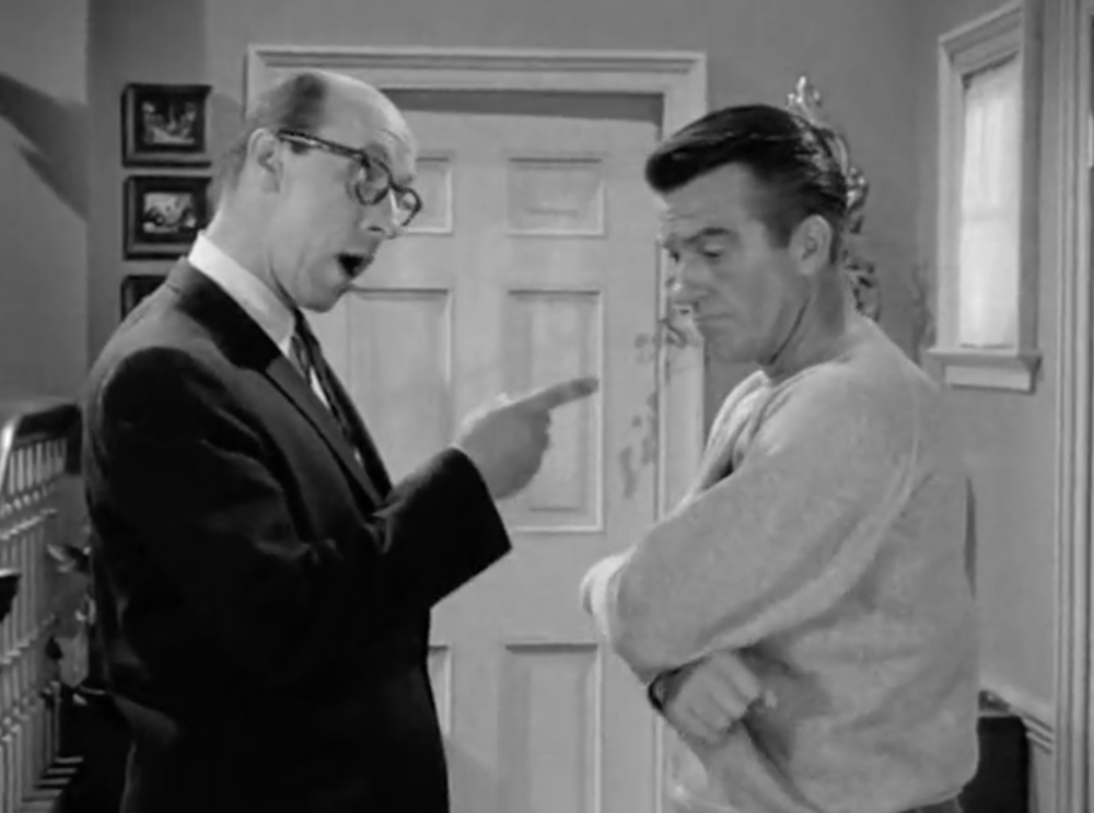 Mr. Baxter is BACK - as Fred Rutherford, Ward's work bully. Note: Ward's body language.