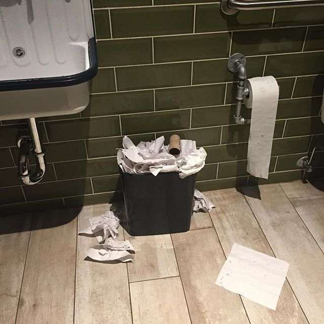 Genius planning. New Mexican restaurant in very busy area of Chicago. Spent a lot of money to build. And then they miscalculated the necessary capacity of said bathroom trash can.