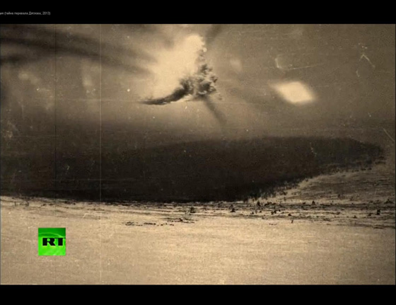 A photo that is often associated with the Dyatlov event but which researchers believe was not taken by anyone from the party.  It appears to show an aerial explosion which might be connected to a military exercise taking place in the region, possibly around the same time.