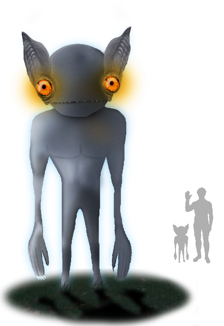 """Tim Bertelink 's Artist Impression of the Kelly-Hopkinsville """"goblin."""" Image used under  CC BY-SA 4.0 license."""