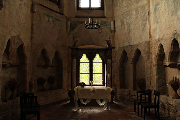 """Image of Houska Castle's chapel, over which the fissure or """"Gate to Hell"""" was built. Photo Credit by   Scary Side of Earth on   flickr , used with  CC by 2.0  attribution."""