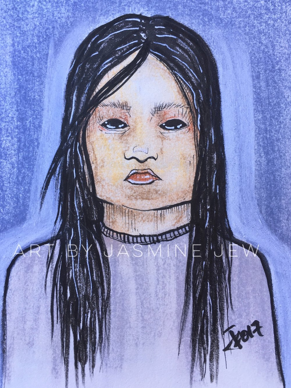Artwork by Jasmine Jew, depicting the black-eyed girl with a baby stroller she saw at her door late at night in Brownsville, TX.