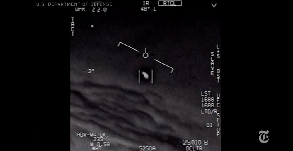 Screen capture from a FLIR monitor on board an F/A-18F Super Hornet fighter jet, taken during a training mission in November 2004. The video shows what appears to be an Unidentified Flying Object.