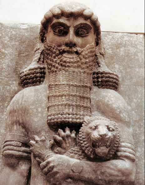 "From  biblicalarchaeology.org : ""This colossal figure choking a lion once stood at the palace of Assyrian king Sargon II at Khorsabad in northern Iraq. Often identified with the hero Gilgamesh, the statue now resides at the Louvre Museum in Paris.  Photo: Musée du Louvre, Paris.""   It looks like he's also wearing a watch."