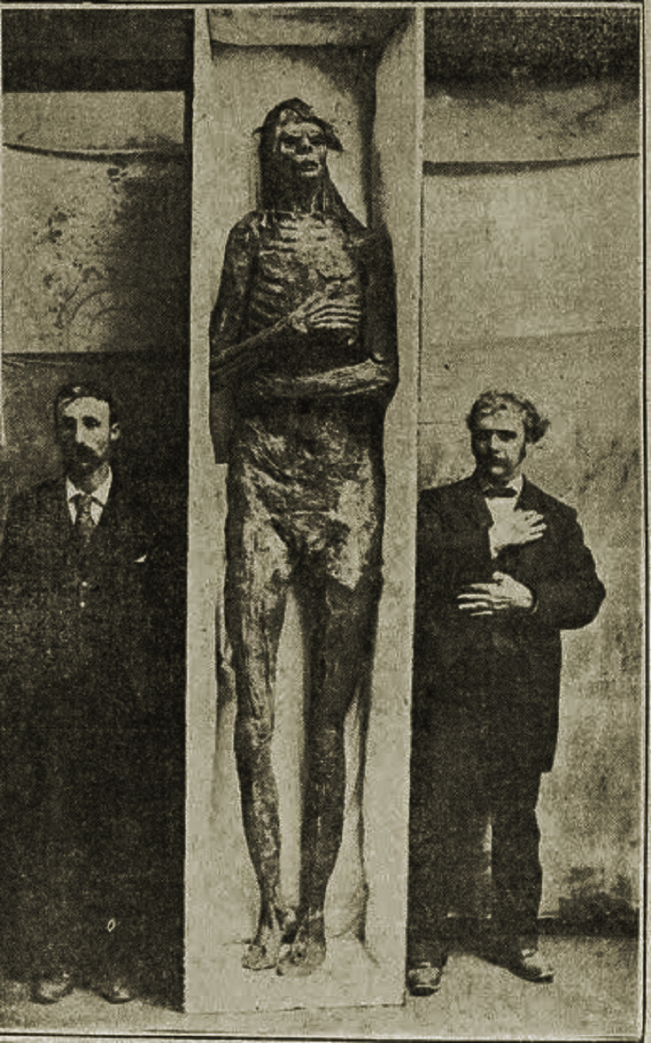 "Image from the newspaper,  The World , Sunday, October 6, 1895, with the headline: ""BIGGEST GIANT EVER KNOWN – Nine Feet High and Probably a Prehistoric California Indian – Measurement Well Authenticated"""