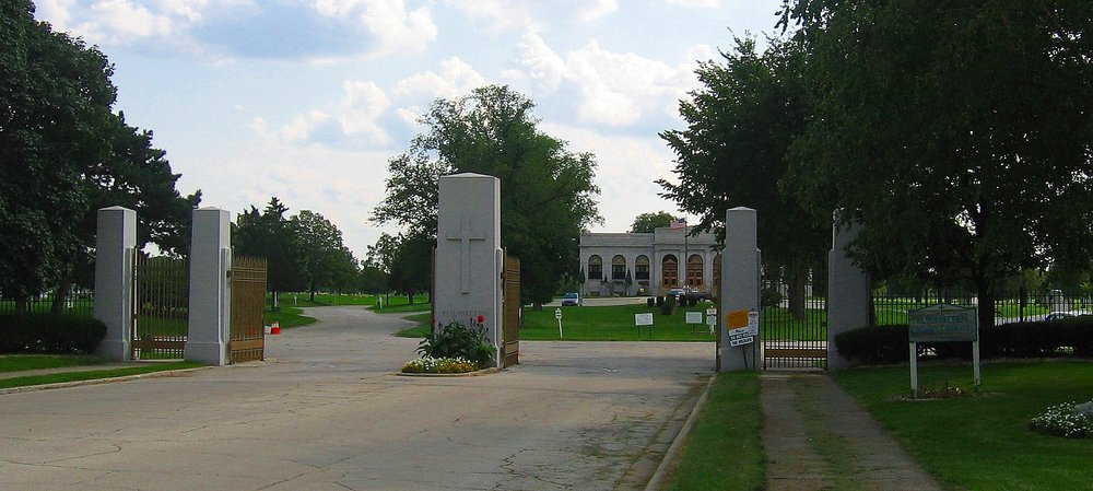 "Front gate of Resurrection Cemetery, photo by "" MrHarman""  at the    English language Wikipedia  under   Creative Commons   Attribution-Share Alike 3.0 Unported"