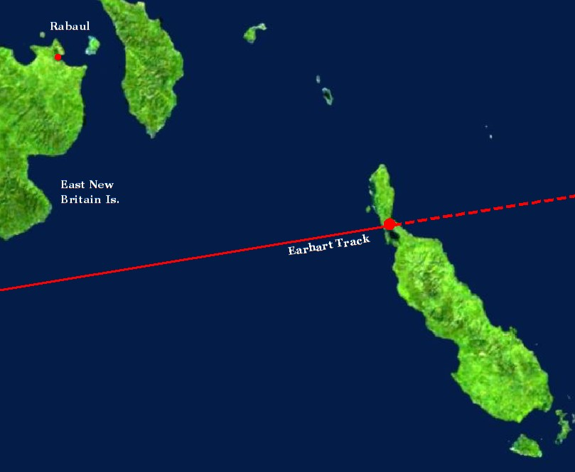 """Amelia Earhart flew a flight track from Lae New Guinea over the isthmus of Buka Island on her way toward Nukumanu Island."" From:  SpecialBooks.com"