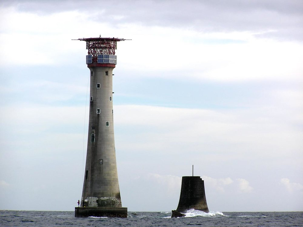 The  Eddystone Lighthouse , located on the dangerous  Eddystone Rocks , 9 statute miles (14 km) south of  Rame Head , England