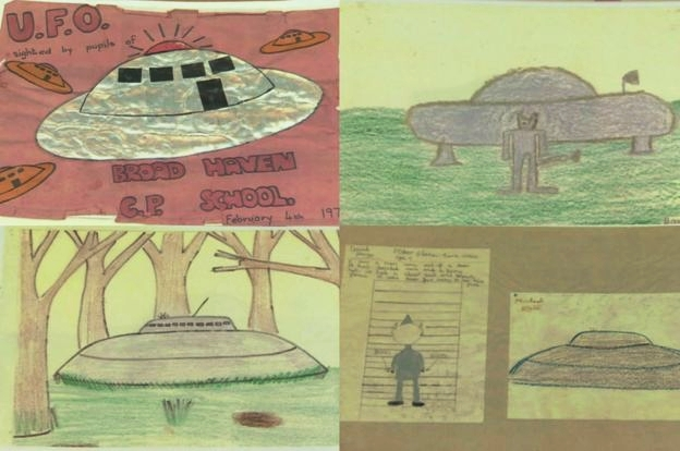 Compilation of other students' drawings of the incident craft