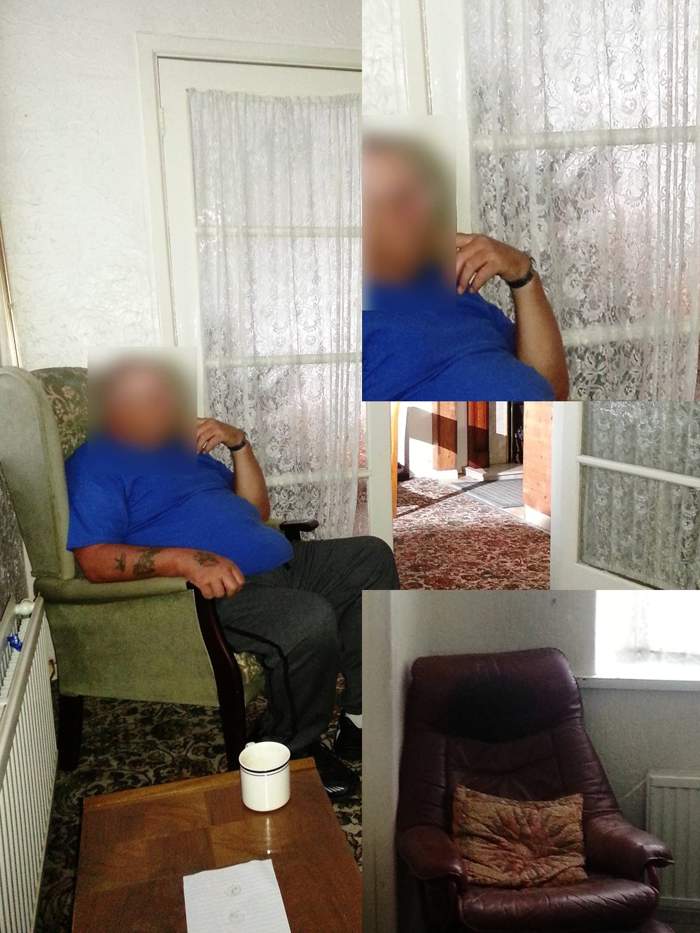 Notice the shadow outside of the French Doors leading to the kitchen. It appears to be a figure reading. Bottom right is the chair that it would've been sitting in. From the  30 East Drive website , photo by Andy E.