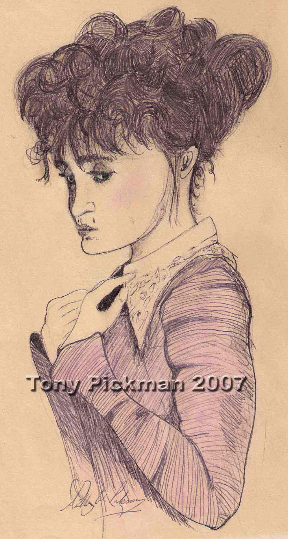 A sketch by Tony Pickman of a Victorian-looking woman that appeared near his bed to threaten him