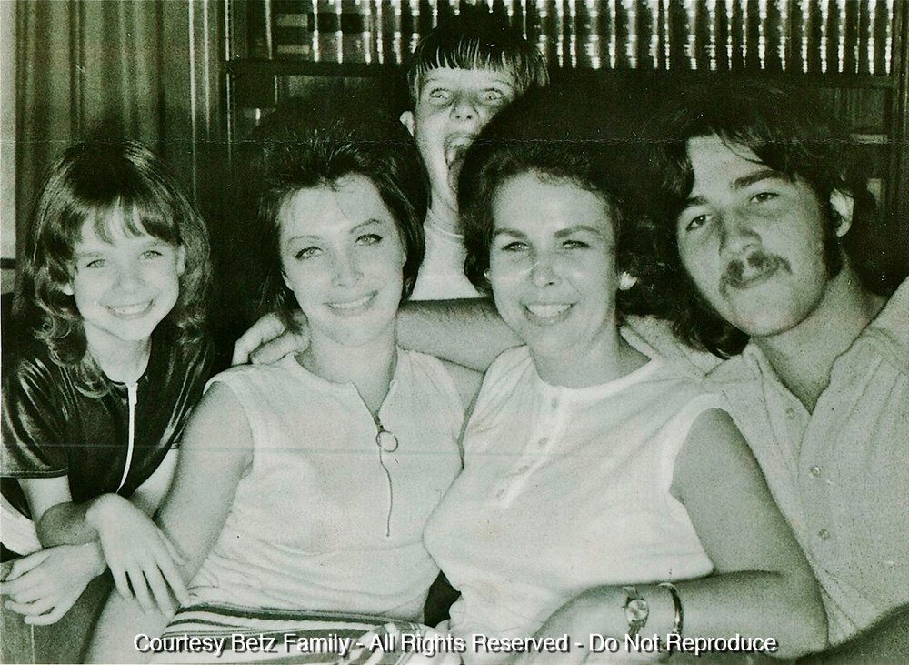 The Betz family around the time of the sphere's discovery. Terry is pictured far right, with mom Gerri to the left.