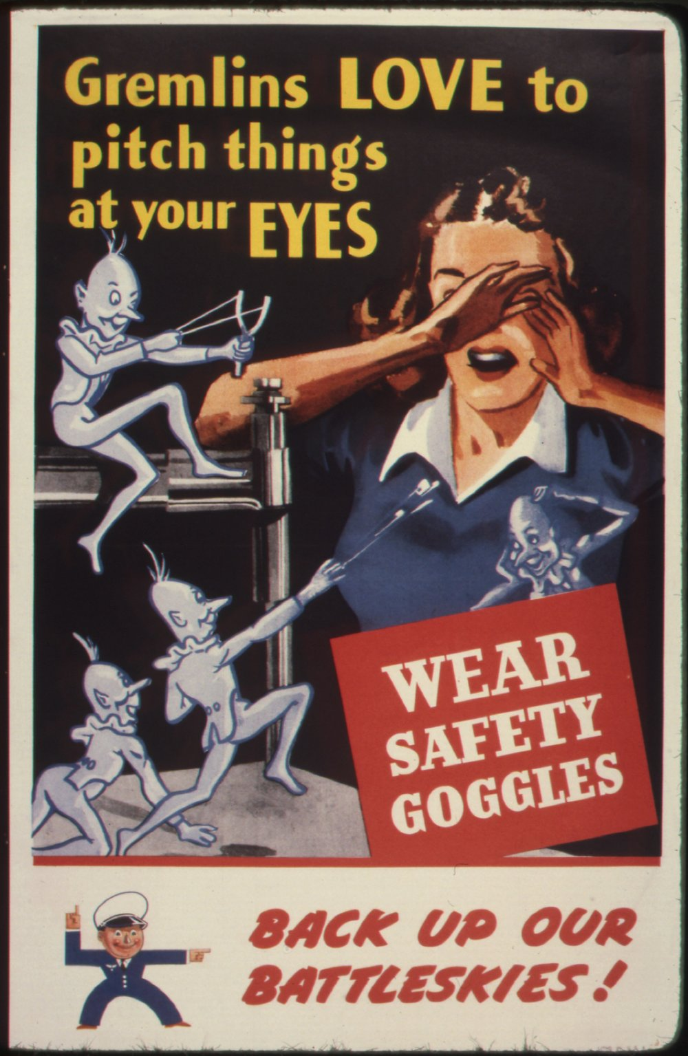 World War II Gremlin Oriented Safety Poster - Public Domain