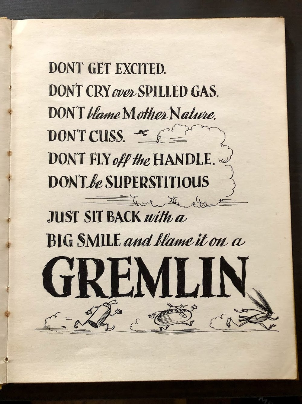 From Astonishing Legend's copy of Eric Sloane's hard to find book, ''Gremlin Americanus: A scrap book collection of Gremlins''