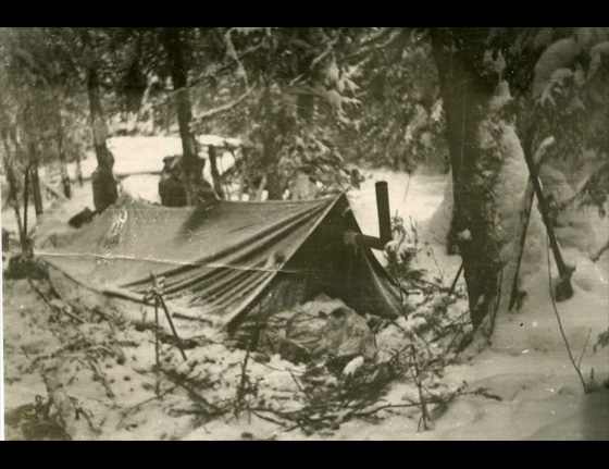 The setup of the tent used by the Dyatlov party, but not at the scene of the incident, where it would later be cut open from the inside to escape