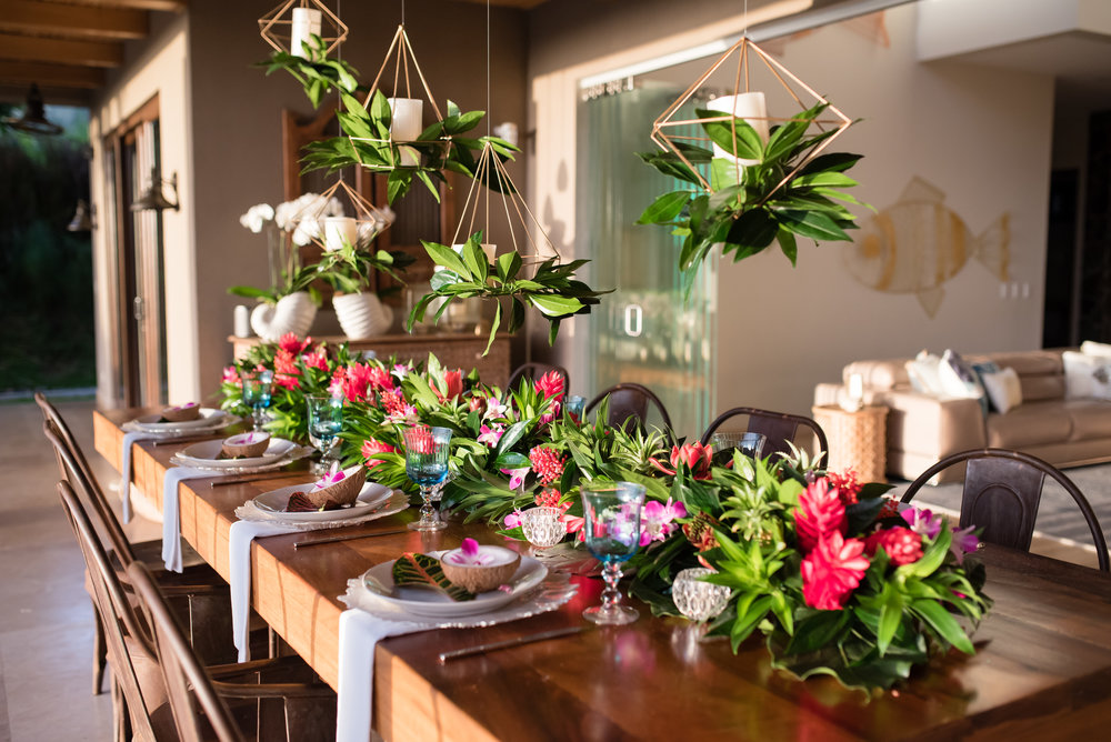 Photo by Sylvia Guardia M Photography:  Our designers just returned from a tropical trip to Costa Rica!  Dinner party collaboration with Cristina, owner of ArtFlower: Wedding Destination Florist in Guanacaste Coast Rica.  http://artflowercr.com