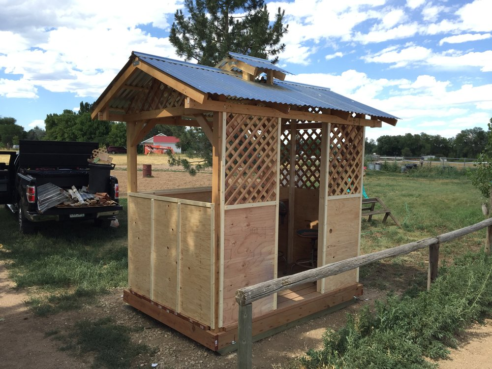 Gazebo built for Horse Show announcer's booth. Live power installed inside