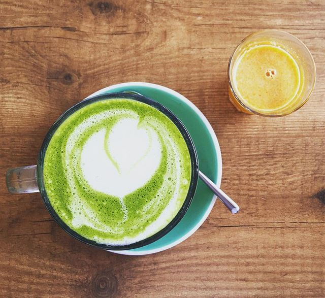 It's a double hydration kind of morning 💤 Awakening matcha latte and recovery shot from the island gem #passioncafe. Locally grown and organic  #lemon #ginger #honey #cayenne #turmeric #matcha #almondmilk #guidedbywanderfuel #ibiza