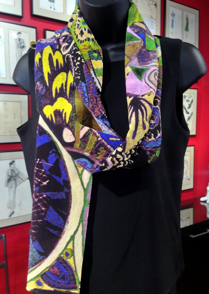 NCc- judimagier- art scarf- dynamic design- orginal artwork-unique- silk scarf-multicolored-made in usa.JPG