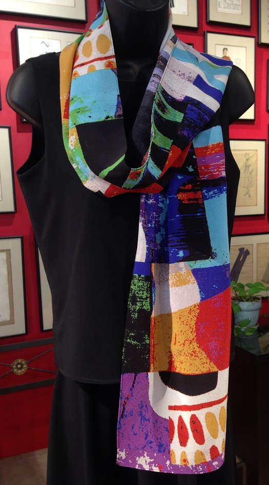 WHB-art scarf-contemporary - graphic- orginal design- primary colors-silk- custom printed-made in usa.JPG