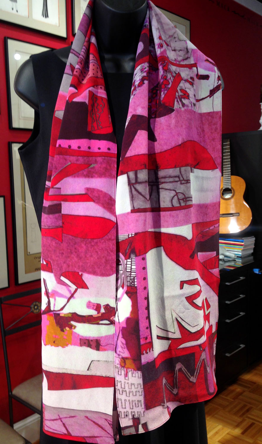 HLR-art scarf-silk-original-one of a kind-red-pink-garnet -rose-stone-pewter-grey-contemporary-custom printed-made in usa.jpg
