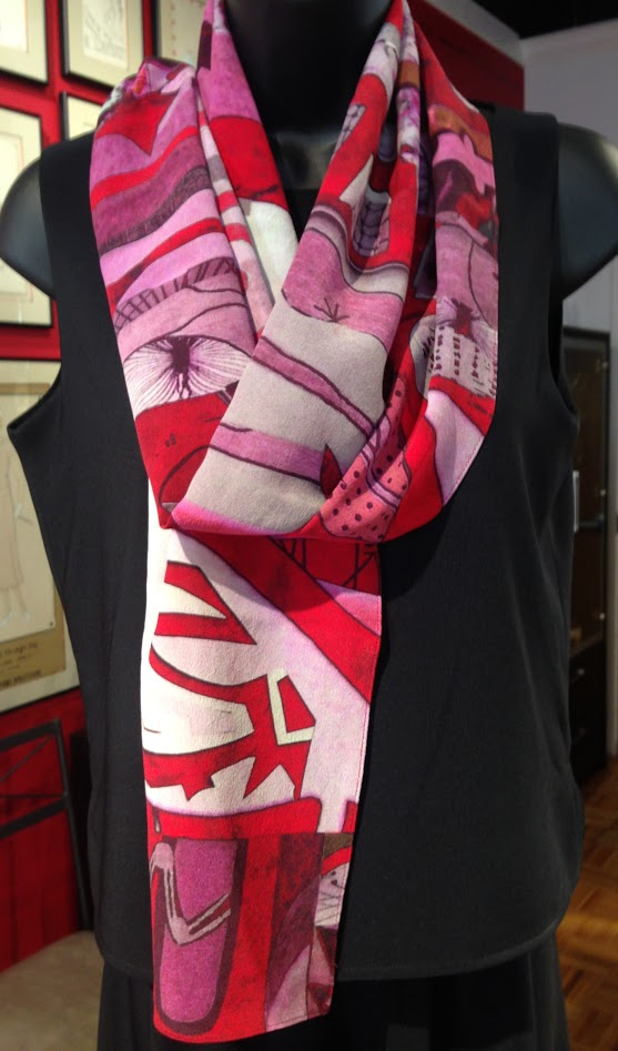 HLR-art scarf- original design- silk crepe-red-rose-white-grey-whimsy design-made in usa.JPG