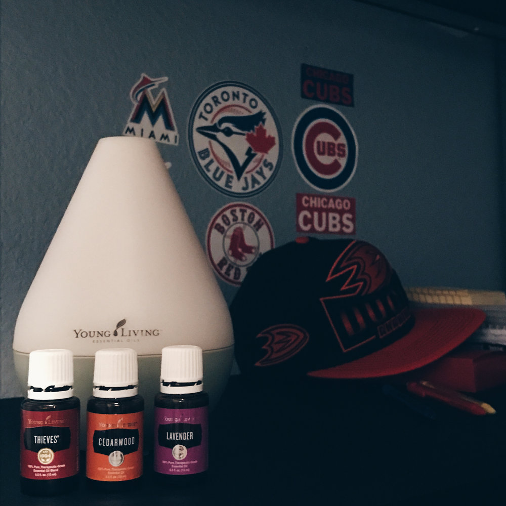 My boy's nighttime diffuser blend: 3 drops of Thieves, 2 drops of Cedarwood, 3 drops of Lavender