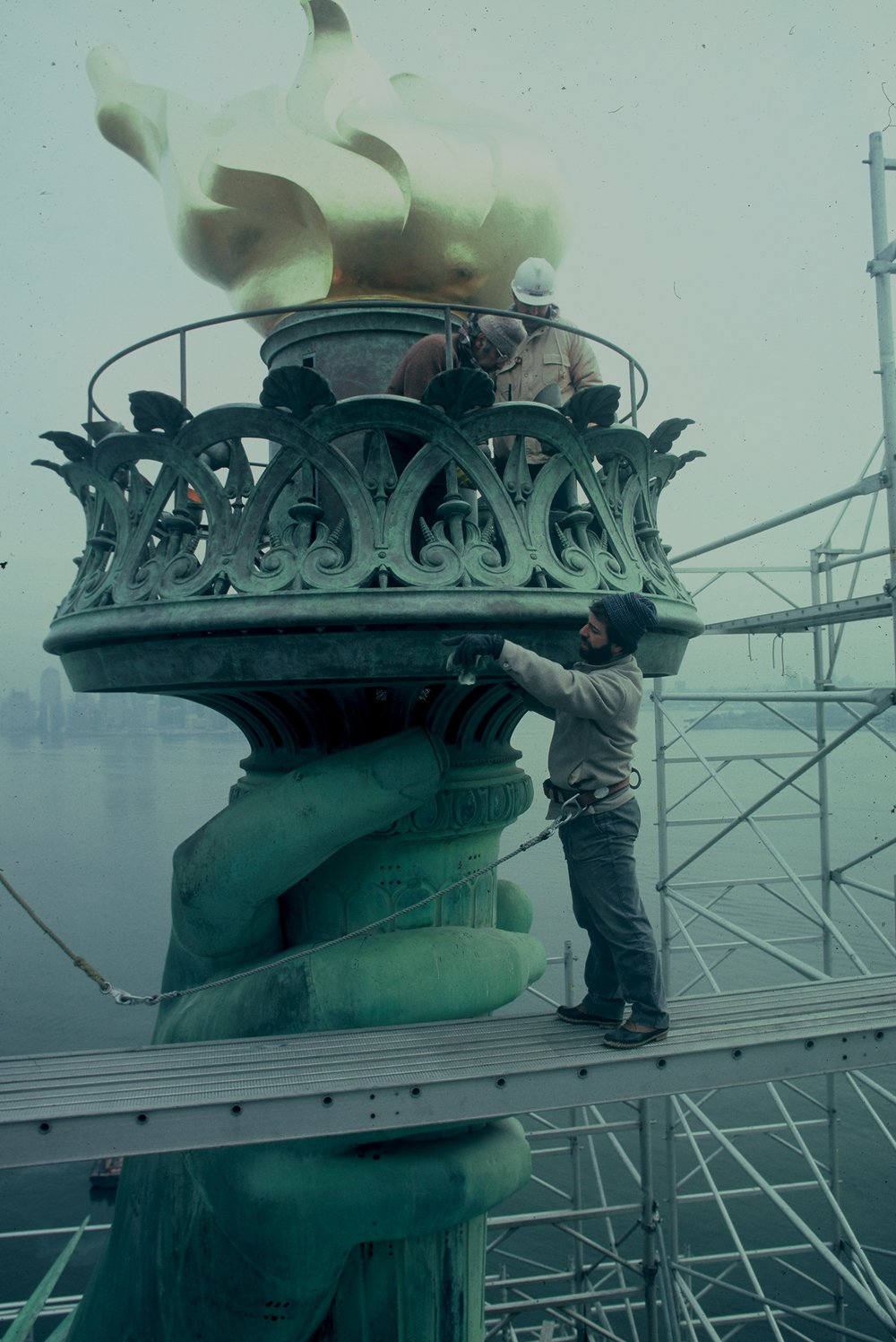 STEVE TATTI AND ALEXANDER TATTI ATOP THE STATUE OF LIBERTY