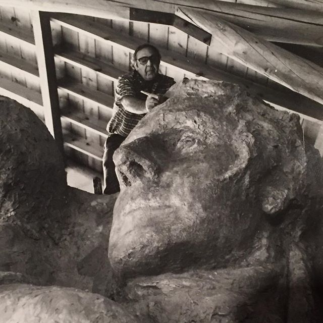 Leafing through some old files, I found this gem of Alexander Tatti taking measurements on Gutzon Borglum's plaster model for Mount Rushmore in the early 80's. This was right before he and Steve Tatti went to South Dakota to preform conservation efforts on the National Monument. We sure miss him. #gutzonborglum #mountrushmore #masterofplaster #thirdgeneration #americanart #conservation #restoration #sculpturedoctor