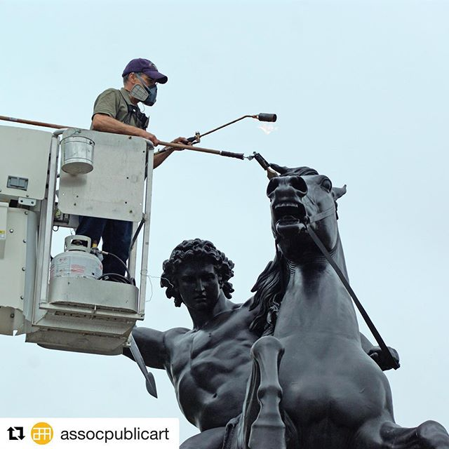 """It's that time of year, and we love it!  #Repost @assocpublicart with @get_repost ・・・ As part of our #conservationmonth """"The Lion Fighter"""" and """"Mounted Amazon"""" received reapplication of a special wax coating to protect the bronze sculptures from corrosion. 🔗 in bio for more info. #LOVEpublicart • """"The Lion Fighter"""" (1858; cast 1892) by Albert Wolff and """"The Mounted Amazon Attacked by a Panther"""" (1839; cast 1929) by August Kiss. 📷 Caitlin Martin for aPA."""