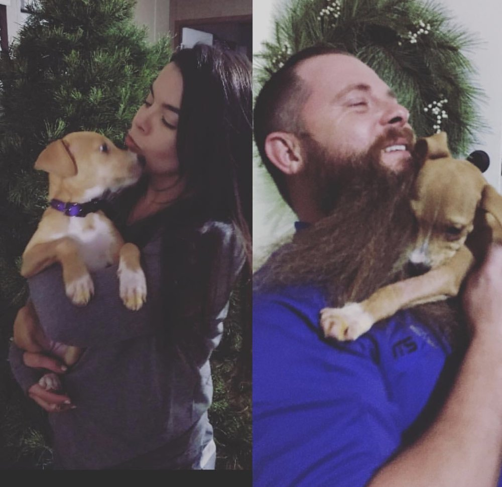Pearl's FURever parents Kacie and Greg