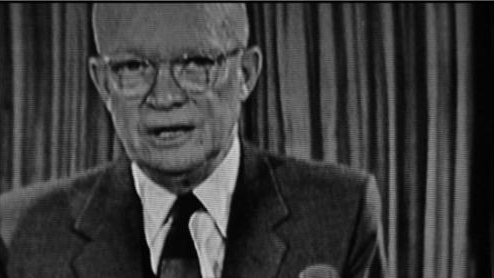 "Eisenhower giving speech on the ""military-industrial complex"""