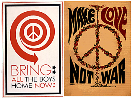 During the Vietnam War the peace symbol was used extensively by anti-war protestors. Left is a 1968 poster from the Peace Action Council, and right is a 1967 poster from Tarot Press in Los Angeles.