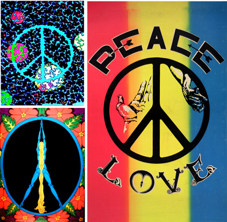 "Often associated with the psychedelic movement, the peace symbol represented love as well as peace. The top-left example is a 1971 black-light poster; the bottom-left image, also from 1971, is ""Peace Girl"" from Pomegranate Posters; and right, a 1968 poster, artist unknown."